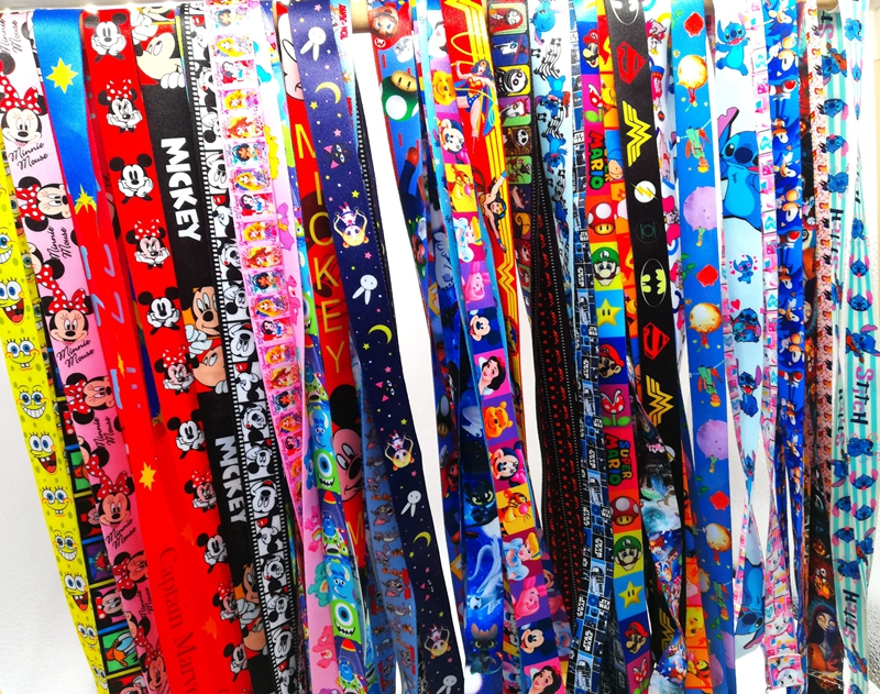 Mixed 10pcs/20pcs/50pcs Minnie Mickey  Princess Neck Strap Lanyards Badge Holder Rope Pendant Key Chain Accessories Gift
