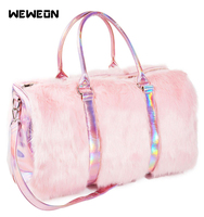 Rainbow Faux Fur Sport Travel Bag for Girls Laser Fitness Handbag Soft Women's Symphony Street Packs Reflective Luggage tote