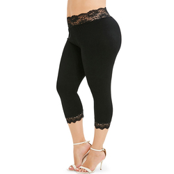 Mode Plus Size Vrouwen Lace Trim Cropped Leggings Skinny Solid Casual Push Up Elastische Hoge Wasit Sexy Leggings 2019 Leggins