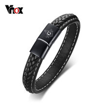 Zwart Lederen Armband Voor Mannen Graveren Naam Gepersonaliseerde Logo
