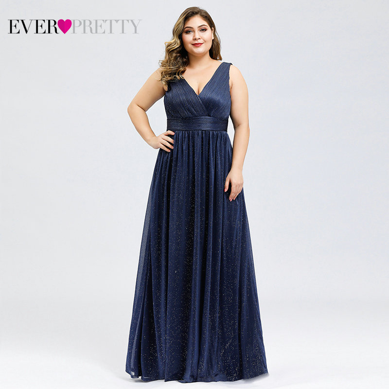 Plus Size Evening Dresses Ever Pretty EZ07764 A-Line Double V-Neck Sleeveless Ruched Sparkle Evening Party Gowns Vestido Longo