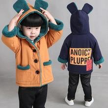 Куртки и пальто для мальчиков и девочек; детская зимняя теплая куртка с капюшоном из бархата; детская повседневная хлопковая куртка с рисунком медведя; сезон осень-зима