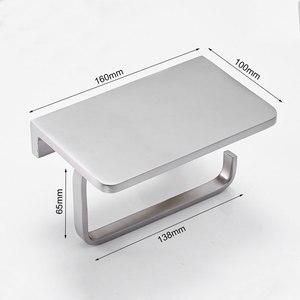 Image 5 - Suporte de papel higiênico para banheiro, suporte de parede com prateleira para telefone celular, níquel escovado