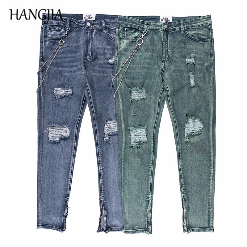 Distressed Ripped Jeans For Men Hip Hop Knee Pleated Washed Destroyed Jean Justin Bieber Ankle Zip Up Pencil Denim Pants