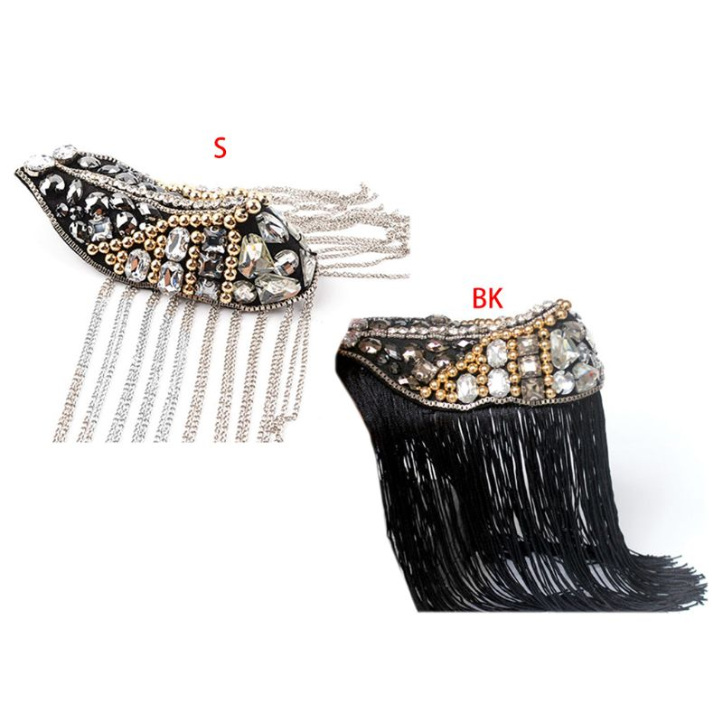 Unisex Long Tassel Exaggerated Punk Epaulette Faux Crystal Beaded Shoulder Badge