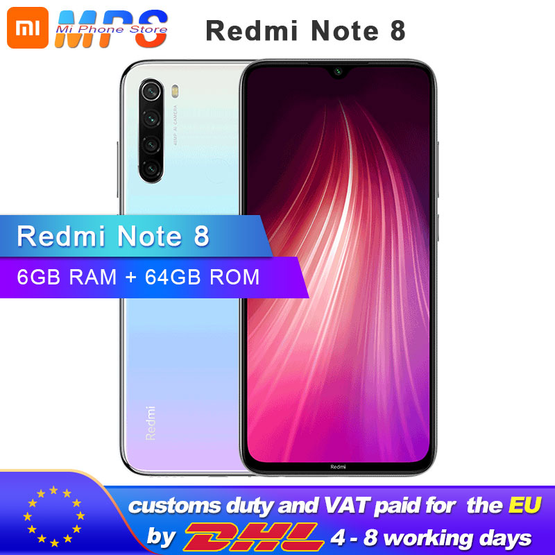 "Global ROM Xiaomi Redmi Note 8 64GB 6GB Smartphone Snapdragon  665 Octa Core  6.3"" 48MP  Rear Camera 4000mAh Support 18W Phone"