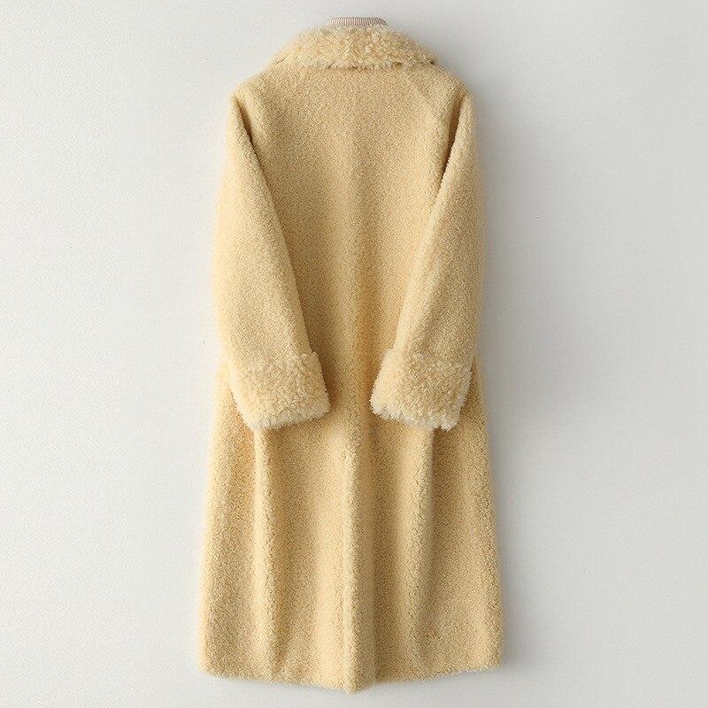 Fashion Sheep Cut Thick Fur Women's Coat Simple Button Backhand Bag Length Women's Casual Jacket