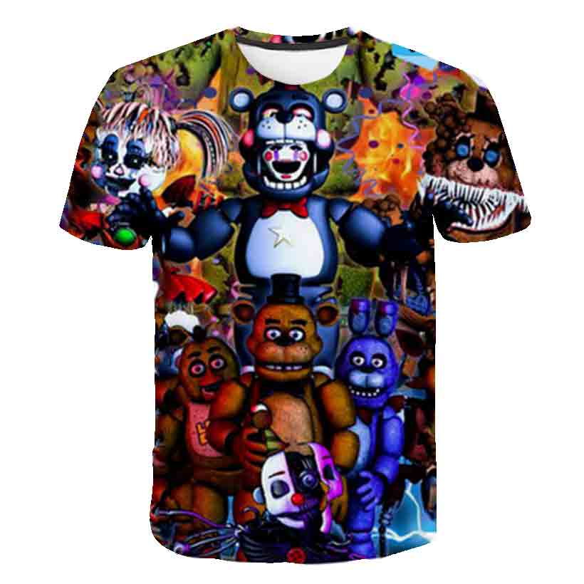 FNAF New Cartoon kids T shirts Five Nights At Freddy's 3D Printed Children T shirt Summer Short Sleeve T shirt Boys/girl Tops|T-Shirts| - AliExpress