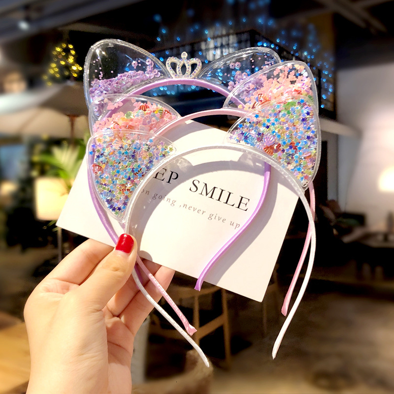 Cute Baby Girls Cat Ears Headband Children <font><b>Princess</b></font> <font><b>Crown</b></font> Transparent Shiny Sequins Hair Band Bow Headwear Hair Accessories image