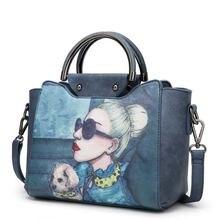 Женская сумка женская кожаная с мультяшным принтом женские Сумки