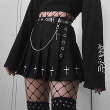 Юбка с цветочной вышивкой в стиле панк темный колледж функциональная
