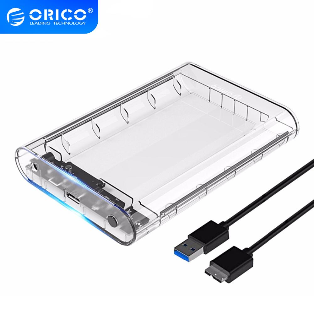 ORICO 3 5 inch Transparent HDD Enclosure Case USB 3 0 5Gbps SATA3 0 Support UASP 8TB Drives for Notebook Desktop PC