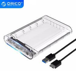 ORICO 3139U3 3.5 بوصة قالب أقراص صلبة شفافة USB 3.0 5Gbps SATA3.0 دعم UASP 8 تيرا بايت محركات حاسوب شخصي مكتبي