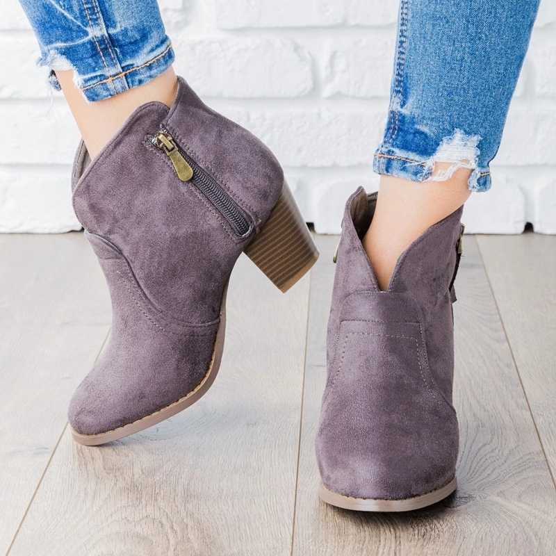 2019 ใหม่แฟชั่นผู้หญิงรองเท้าฤดูใบไม้ร่วงรองเท้าซิปรองเท้าข้อเท้าฤดูหนาว SUEDE ผู้หญิงหรูหรารองเท้า Peep Toe Drop Shipping 2019