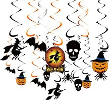 34 Pieces Halloween Party Hanging Swirl Decoration Scary Theme Ceiling Decorations Witches Bats Spider Swirl Hanging Cards