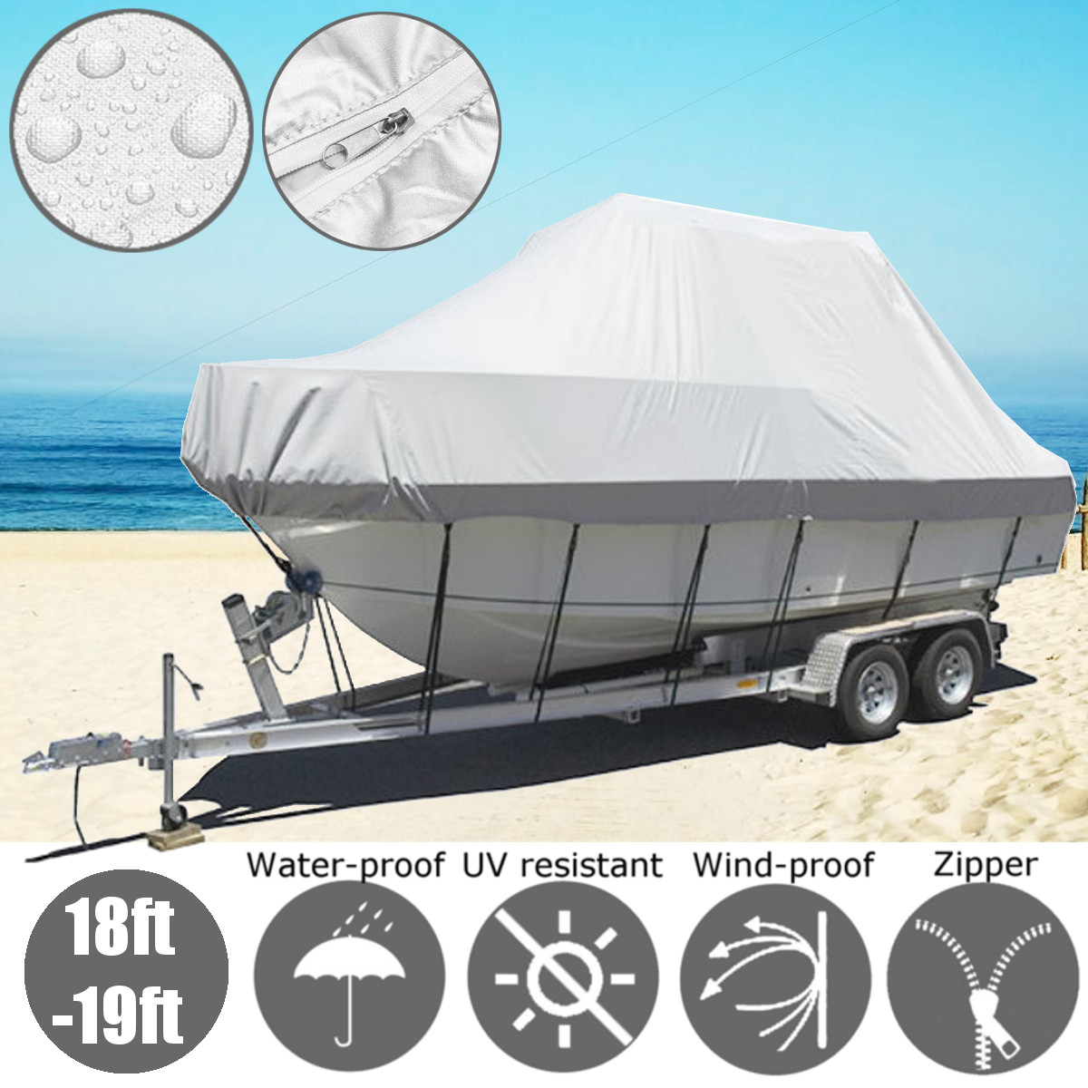 Boat-Cover Trailerable Heavy-Duty Fishing Waterproof Ski 600D with Zipper Jumbo 19x8x4.4ft title=