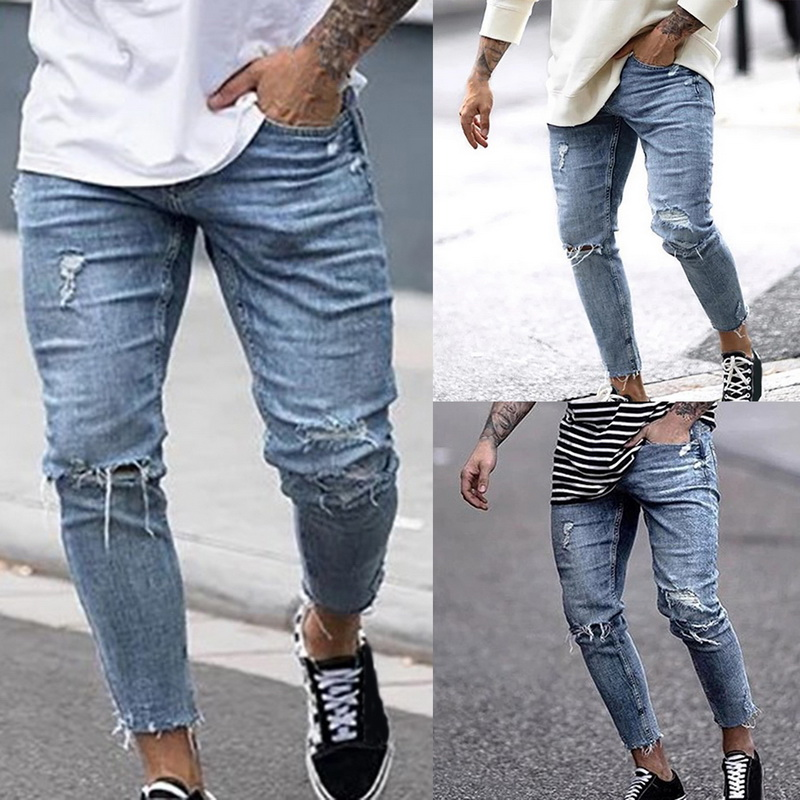 2019 High Street Men Jeans Ripped Skinny Jean Pants Hip Hop Fashion Men Jeans Casual  Denim Trousers Streetwear Distressed Jeans