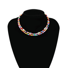 Multilayer Ethnic Rice Beads Necklaces Bohemian Colored Bead Necklace Letter Pearl Women Fashion Choker Chain  Boho Jewelry bohemian multilayer necklaces for women handmade bead necklace wooden bead choker statement necklace necklace wood