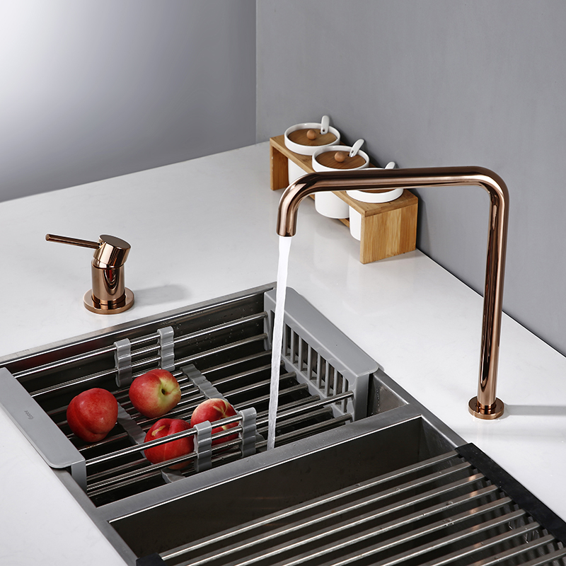 Bagnolux Rose Gold Kitchen Brass Faucet Round Hole Ceramic Valve Core Cold And Hot Water Faucet Manual Lift Type Kitchen Faucet