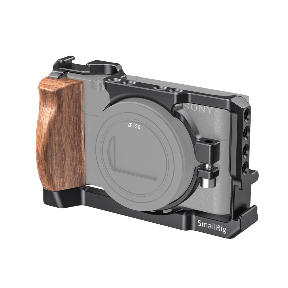 SmallRig <font><b>RX100</b></font> VII Cage for Sony <font><b>RX100</b></font> VII and <font><b>RX100</b></font> VI Camera Vlogging Kit W/ Wooden Handle &1/4 Thread Holes For DIY Rig 2434 image