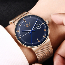 LIGE Blue Watches Casual Mesh Belt LIGE9987