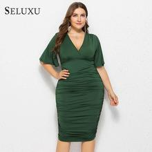Seluxu 2019 Fashion Autumn Plus Size Women Dress Solid Color V-Neck Package Hip Flare Sleeve Large