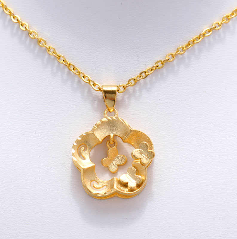 Uminoeki Wando Pesona Pernikahan Kupu-kupu Warna Emas Liontin Rantai Kalung untuk Wanita Wanita Warna Emas Perhiasan Trendi PNG Hadiah