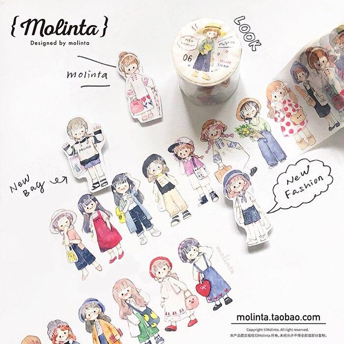 10pcs/1lot Washi Masking Tapes Cartoon Girl Decorative Adhesive Scrapbooking DIY Paper Japanese Stickers 5M