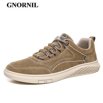 GNORNIL Brand Genuine Leather Men Shoes 2020 New Soft Sole Comfortable Adult Casual Business Shoes Male Flats Footwear tanie i dobre opinie Prawdziwej skóry Skóra bydlęca RUBBER men genuine leather shoes Lace-up Pasuje prawda na wymiar weź swój normalny rozmiar