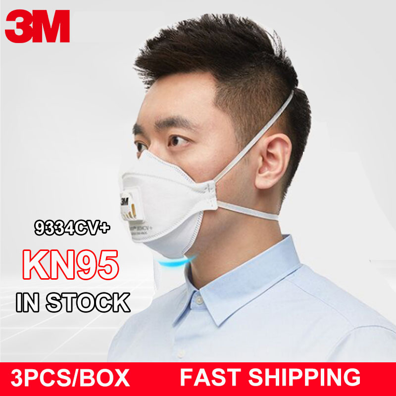 3pcs/lot 3M 9334CV+ Dust Mask Dust-proof Anti-Splash Anti-fog PM2.5 Anti-particles Safety Face Mask 3m 9334 KN95 Industrial Work