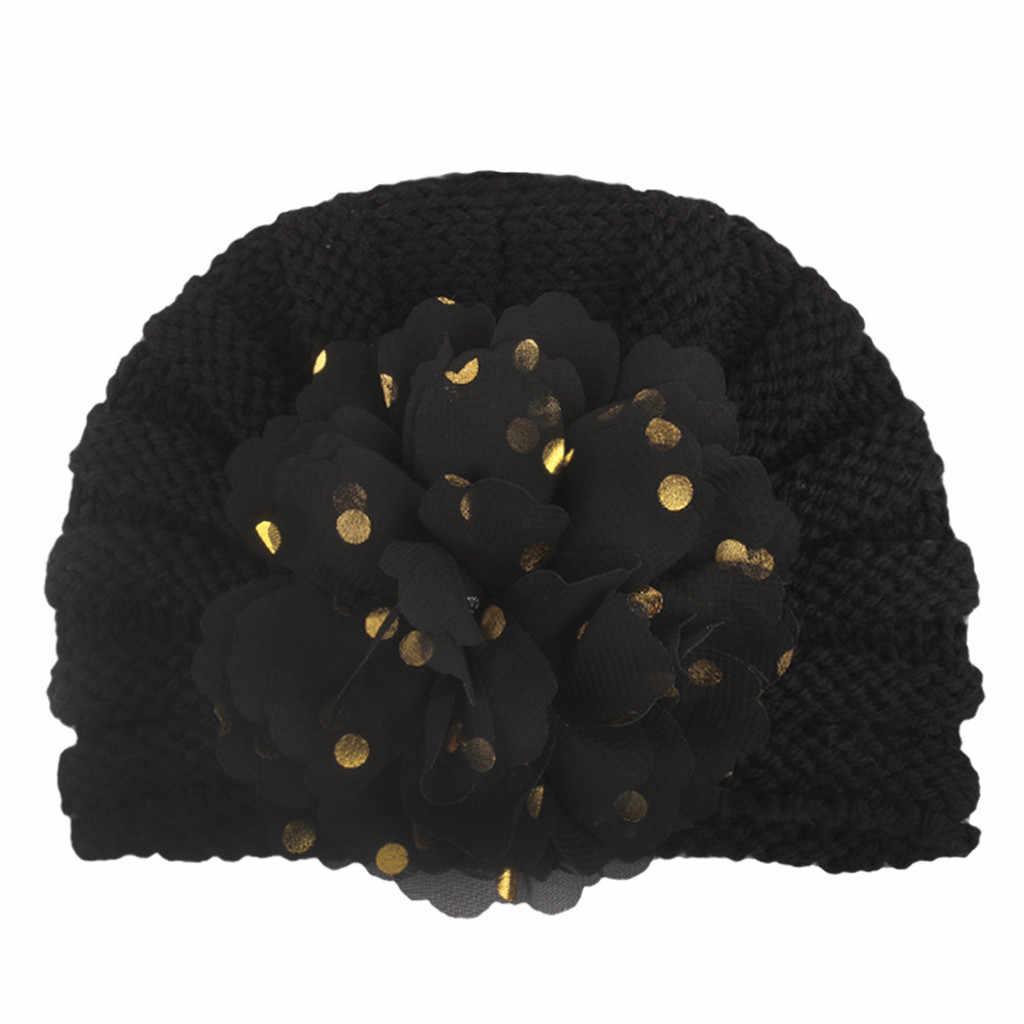 2019 casco a la venta caliente sombreros para recién nacidos niños bebés niña cálido sólido de punto con flores Crochet sombrero boina de lana czapka dziecko