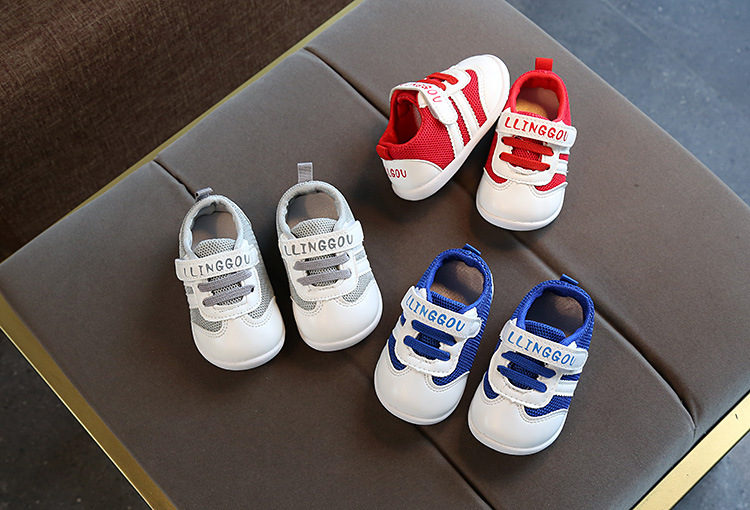 Boys And Girls Baby Breathable Casual Sports Baby Shoes Non-slip Soft Bottom Color Printing Letters Toddler Shoes