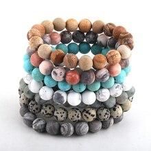 Модные женские ювелирные изделия 10 мм матовые натуральные камни bracelee DropShippers