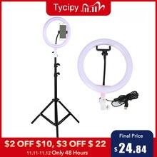 "Tycipy 10 ""Ring Licht Photo Studio Camera Make Ring Licht Telefoon Video Live Licht Lamp Met Statief Voor Smartphone canon Nikon"