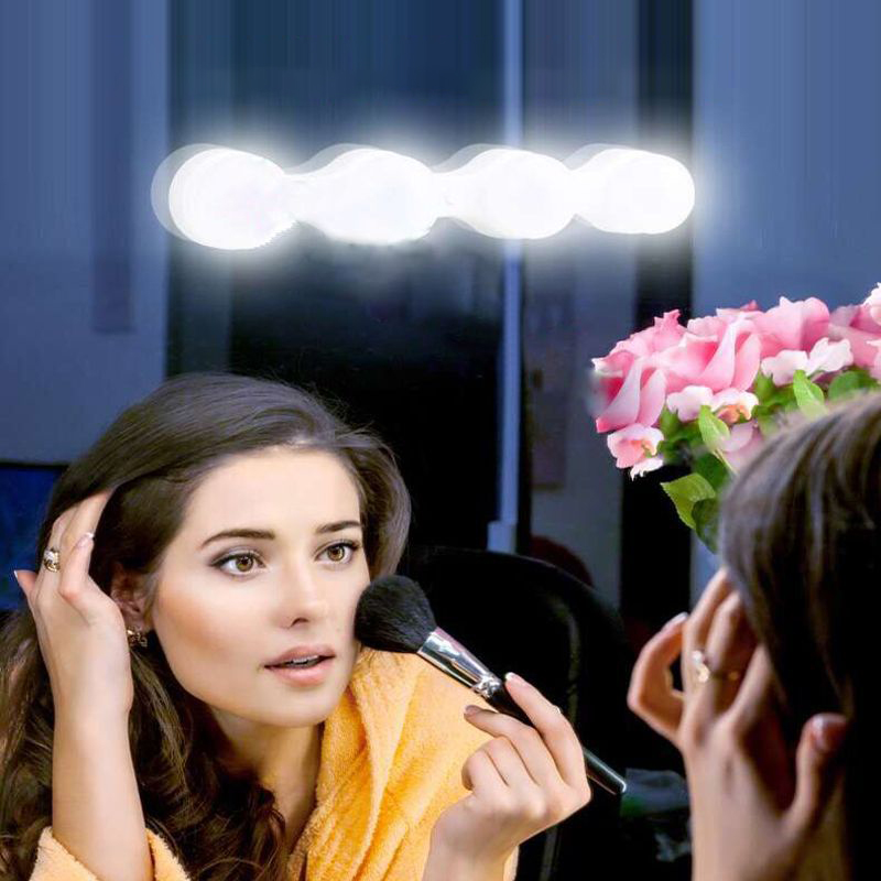White Light Makeup Mirror Front 4 Lights With Dry Battery