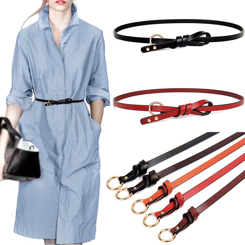 100% Genuine Leather Women Belts Luxury Brand Knotted Button Designer Thin Casual Female Waistband Western Style Ladies Belt