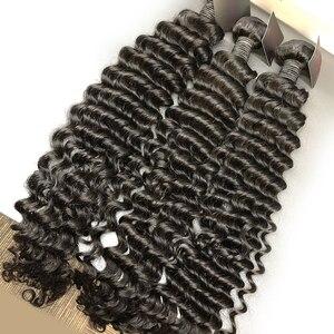Luvin 28 30 32 34 40 дюймов 1 3 4 бразильские волосы плетение пряди глубокая волна кудрявые человеческие волосы натуральные двойные нарисованные