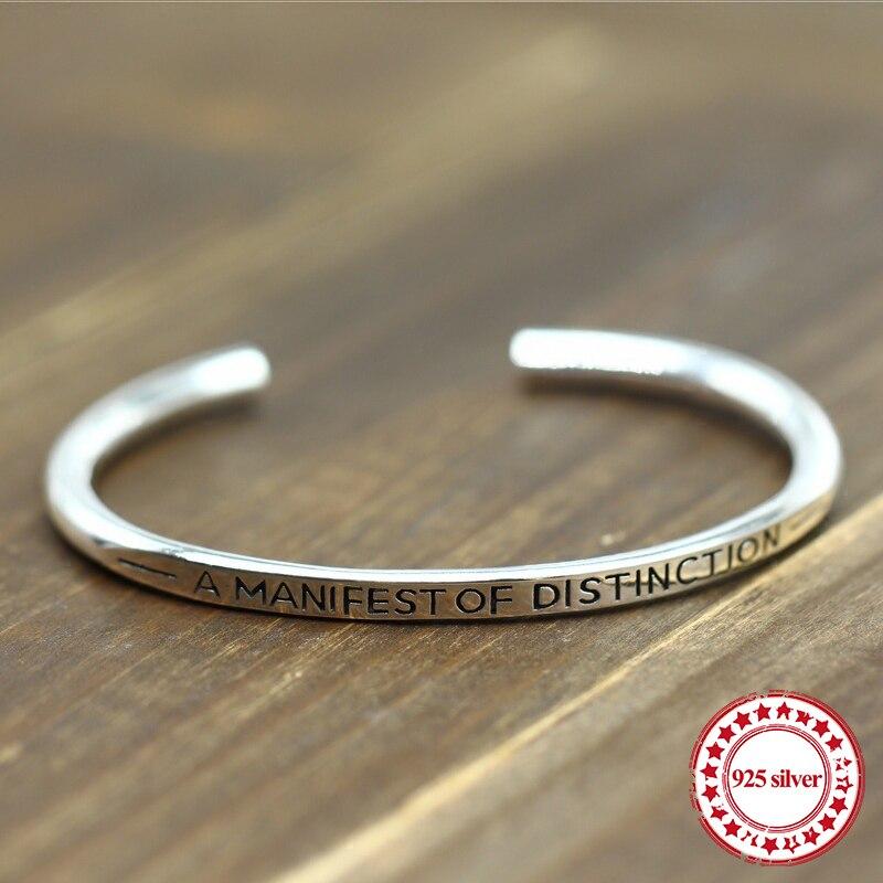 Pulsera abierta de plata de ley S925 con personalidad retro a la moda con amantes del estilo de vida joyería de atmósfera simple 2018 nuevos brazaletes