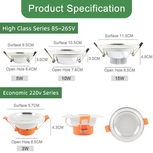 Image 2 - Kaguyahime 1pc/4pcs 3W 15W LED Downlight 110V 220V Round LED Ceiling Recessed Spot Light 5W 7W 9W 10W 12W 15W Aluminum Surface