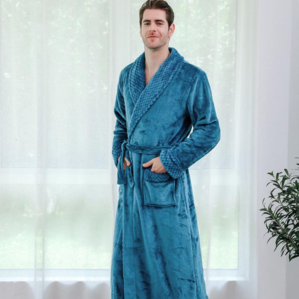Men Night Gown Bathrobe Winter Lengthened Plush Shawl Bathrobe Long Sleeved Robe Flannel Set Sleepwear Home Soft Robe