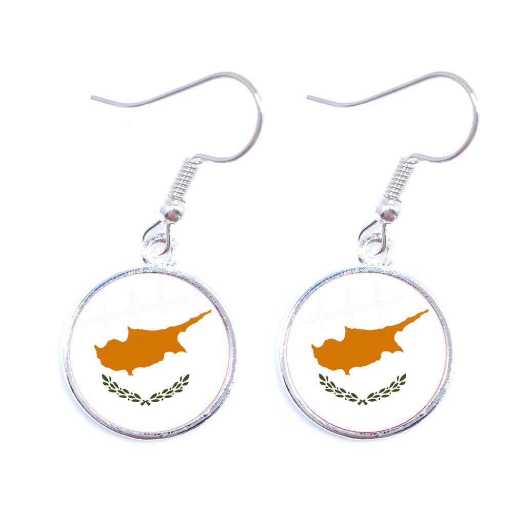 Palästina, Thailand, Zypern, Ägypten, Kolumbien, Tunesien, Österreich, Island, kambodscha Nationalen Flagge 16mm Glas Cabochon Ohrringe Frauen