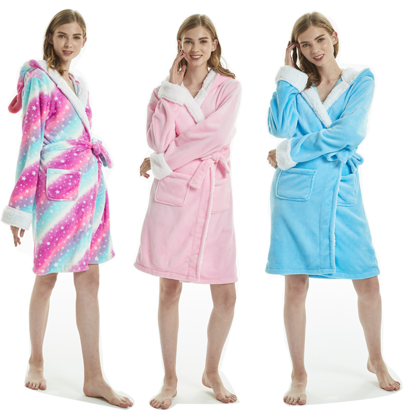 Adults Animal Flannel Bath Robe Sleepwear Women Men Bathrobe Nightgown Thick Warm Robe Winter Unisex Unicorn Plush Pajamas