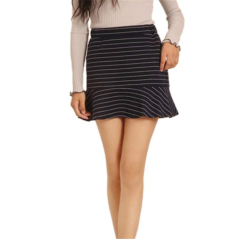 Autumn Spring Fashion Slim Striped Skirt Ruffles SML High Waist Skirt Woman Casual Mini Skirt Lady A-line Short Skirt