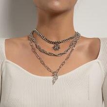 Collar gótico Vintage Punk de múltiples capas para mujer, gargantilla de cadena de Color plata para mujer, joyería con colgante de llama solar 2021