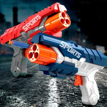 Eva miękki pocisk s pistolety zabawki zasilane powietrzem bezpieczeństwo miękki pocisk pistolety rzutki Airsoft Hollow Hole Head Foam Dart Kids Indoor strzelanka tanie i dobre opinie 7-12y 12 + y 18 + CN (pochodzenie) Age over 6 Unisex Airsoft Gun Toy Pistolet zabawkowy Mini odlew