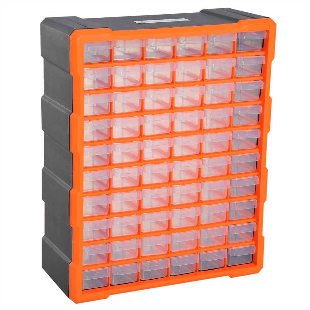 DURHAND Drawer Box Small 60 Drawers Multi-Purpose Plastic Garage Door 38 × 16 × 47.5cm