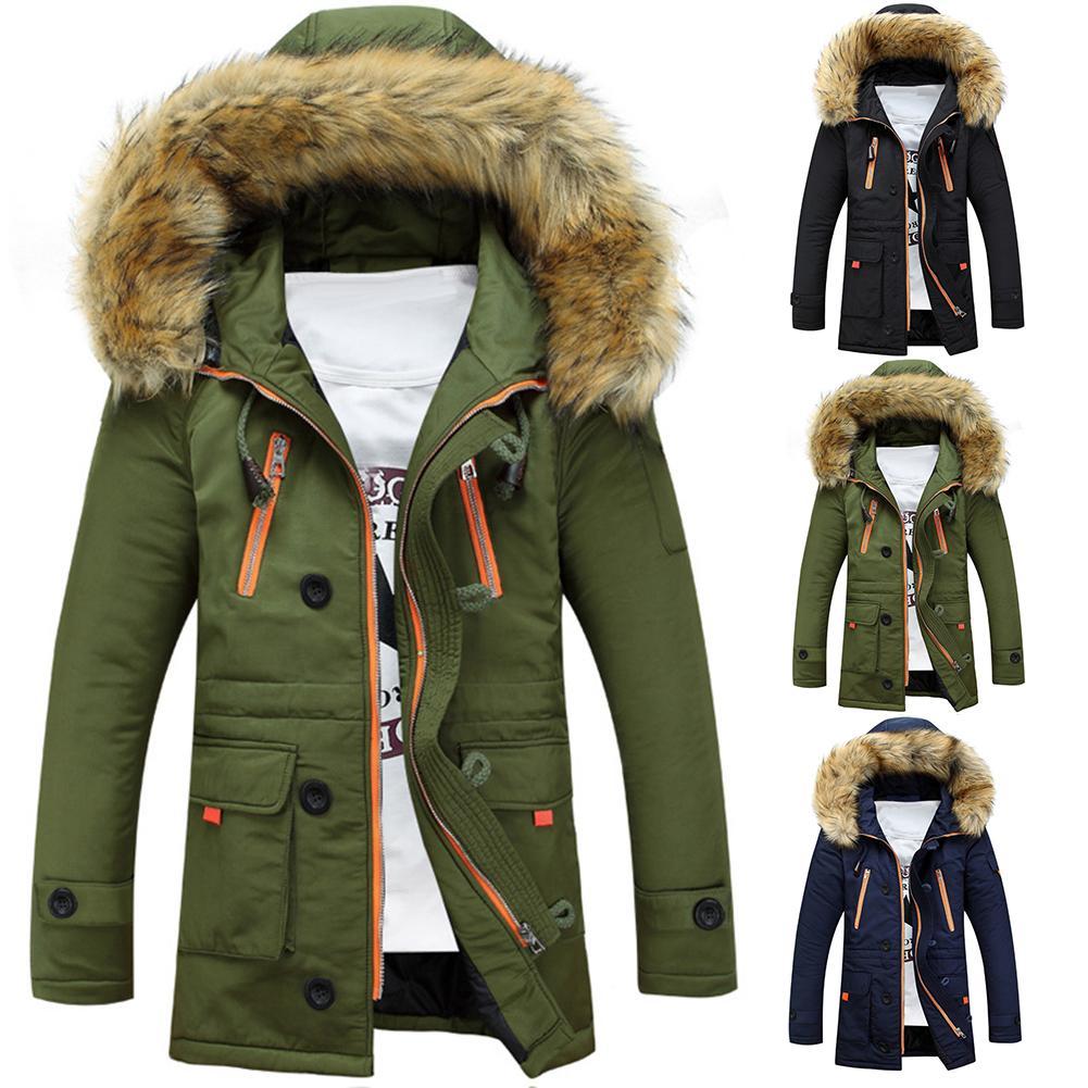 Men Winter Parka Warm Plush Long Sleeve Hooded Winter Jacket Coat Erkek Mont Green Black Navy Blue Overcoat Abrigo Hombre S-3XL