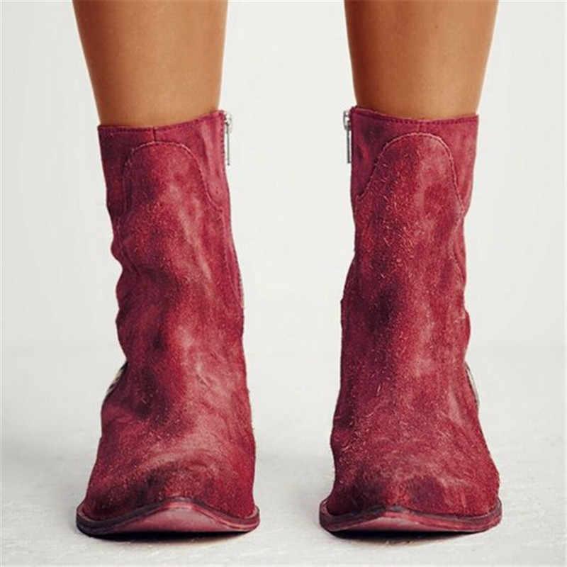 Oeak 2019 kadın botları seksi leopar sivri burun ayak bileği çizmeler kadın ayakkabıları fermuar Zebra desen derin düz topuk çizmeler bayan ayakkabıları