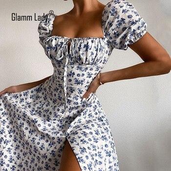 Glamm-vestido Midi informal de flores para mujer, Vestidos sexys de fiesta sin...