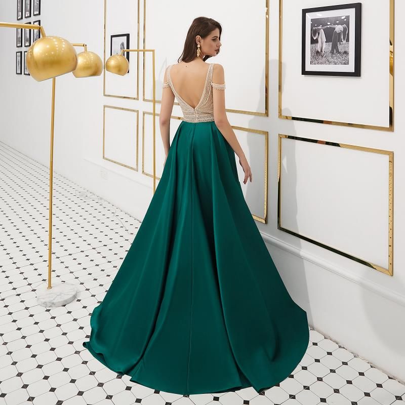 Sexy Dark Green Backless Evening Dresses Long 2019 vestidos de fiesta de noche Real Pictures A Line Off The Shoulder Prom Dress